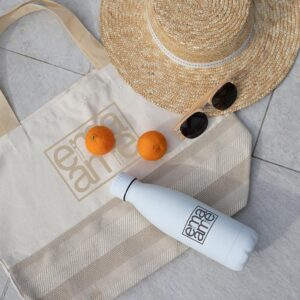 Promotional drinkware and logo tote bag
