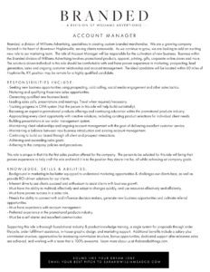 Promotional Products Account Manager Job Opening